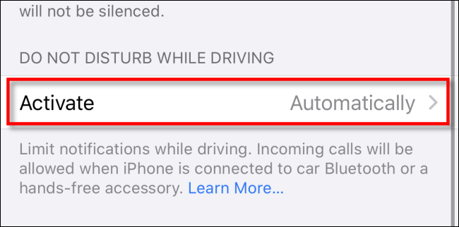 Do not disturb while driving option