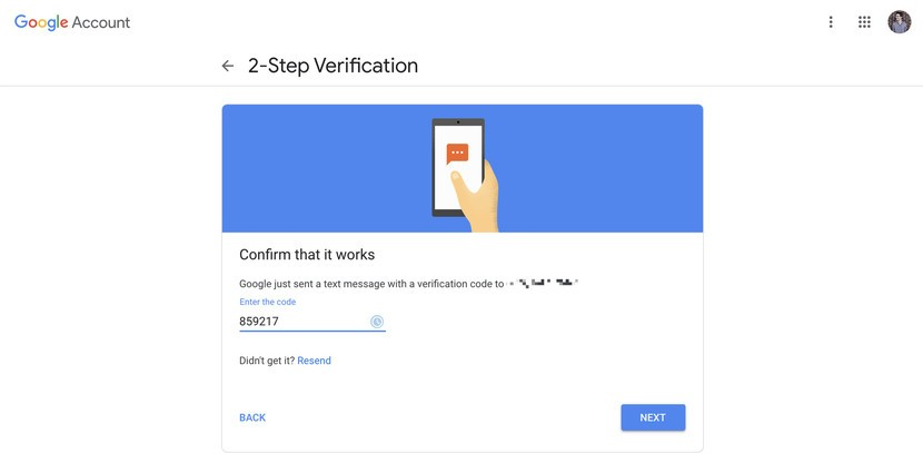 enter the code sent to your number to set two factor authentication for google account