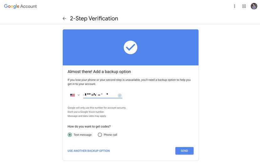 enter the phone number for two step verification