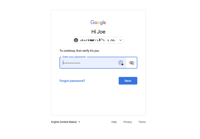 enter your google password to set two factor authentication