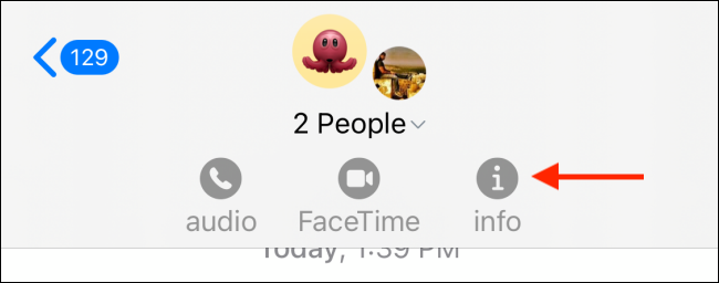 info option in Message group chat