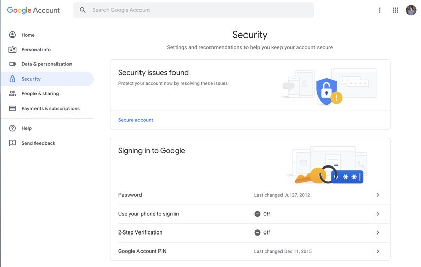 security option in google account