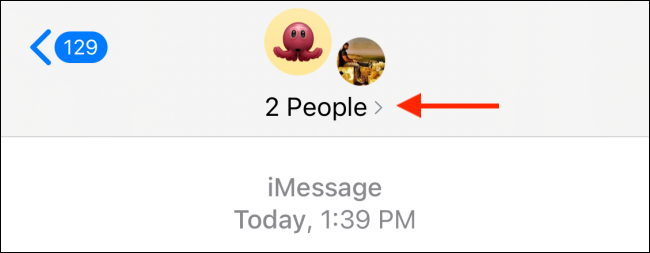tap on the avatar icon on the imessage group chat