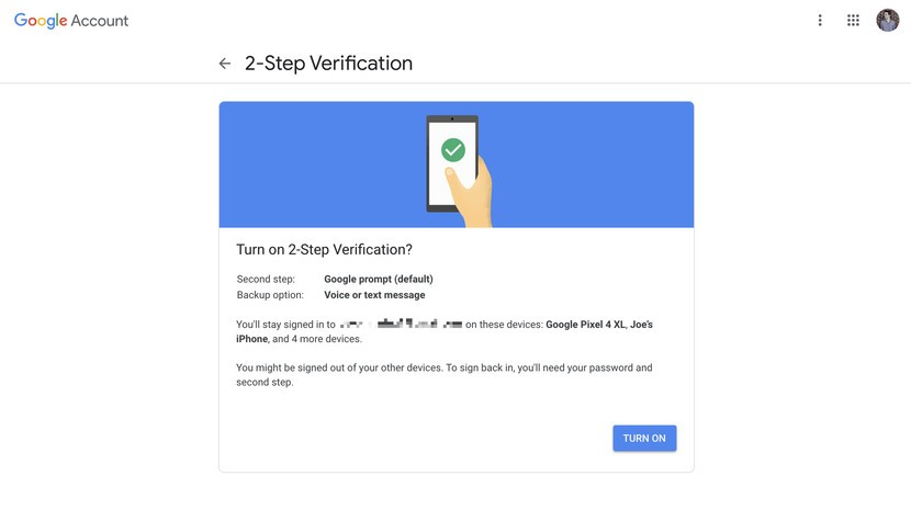 turn-on two step verification for google account