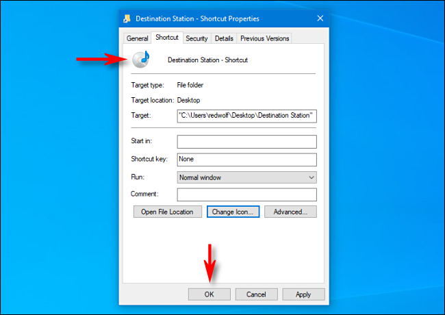 changing icon of a shortcut on windows 10