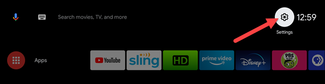 go to settings on Android TV