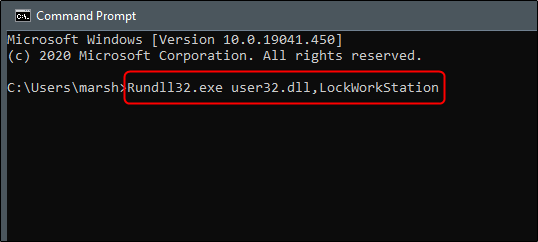 run the command to lock the Windows 10 PC using command prompt