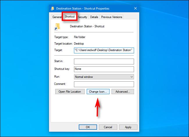 shortcut properties in windows 10