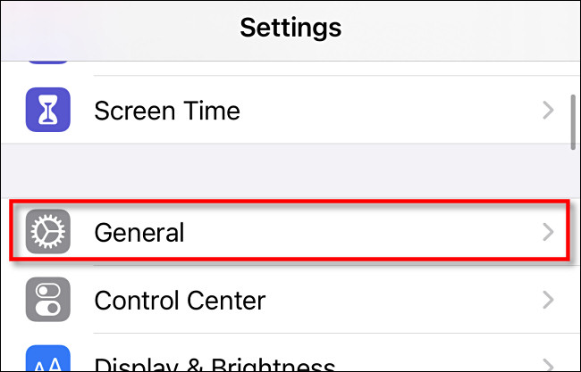 Go to General in Settings on iPhone and iPad