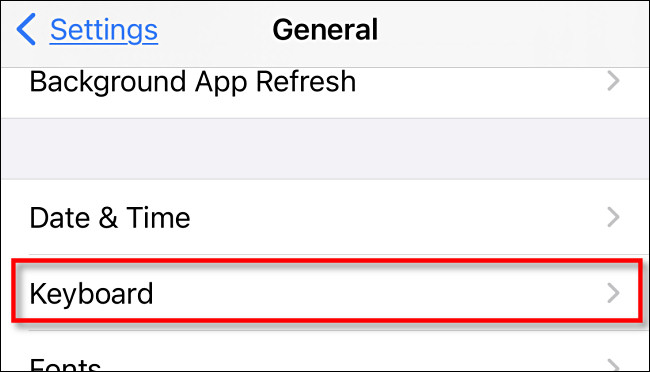 Select keyboard in general settings