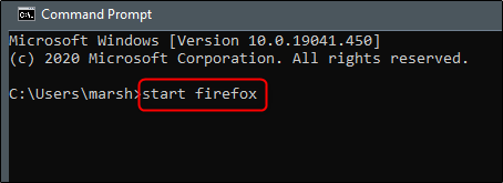 enter start firefox command in command prompt