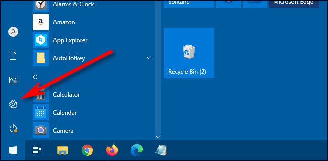 go to settings from start menu