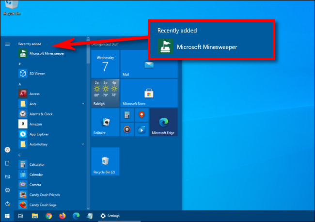 recently added section in start menu