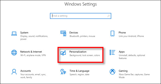 select personalization from windows settings
