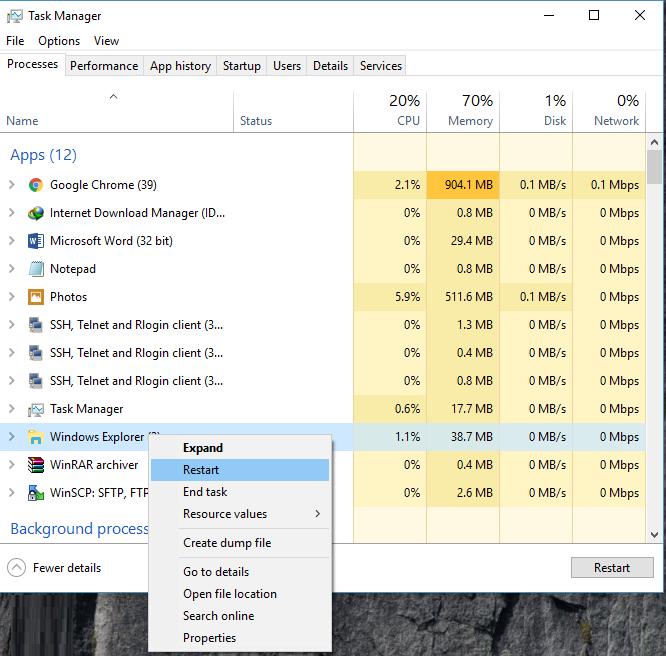 Restarting Explorer.exe Process in Windows 10