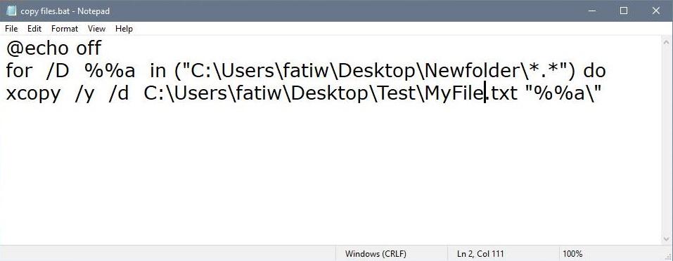 Copy a file to multiple folders in Batch Mode