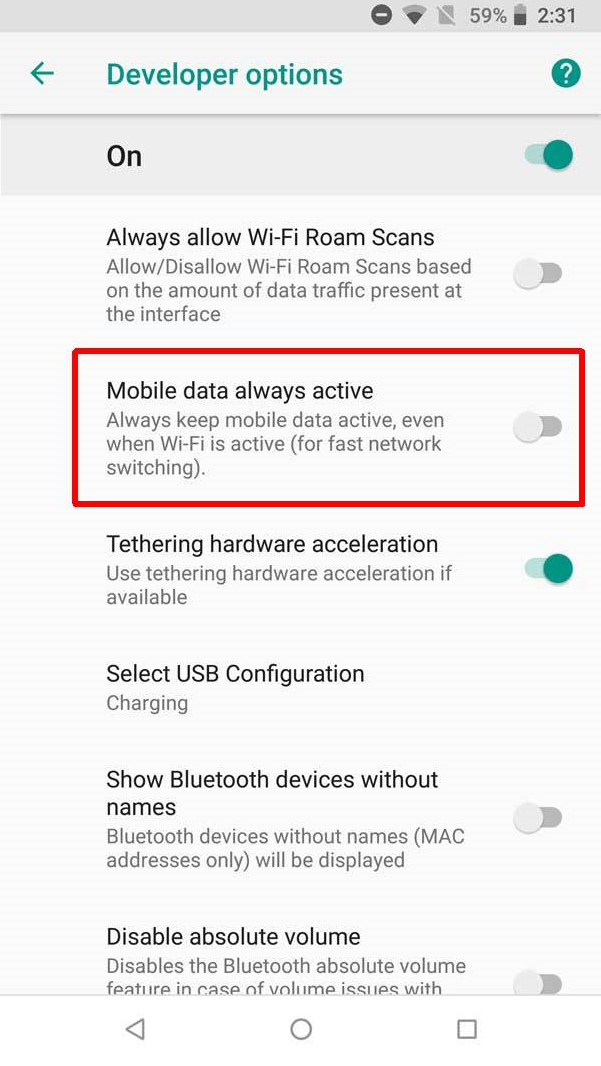 Disable mobile data always active