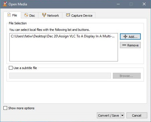 Open media in VLC for conversion