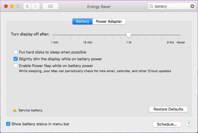 Service Battery Warning