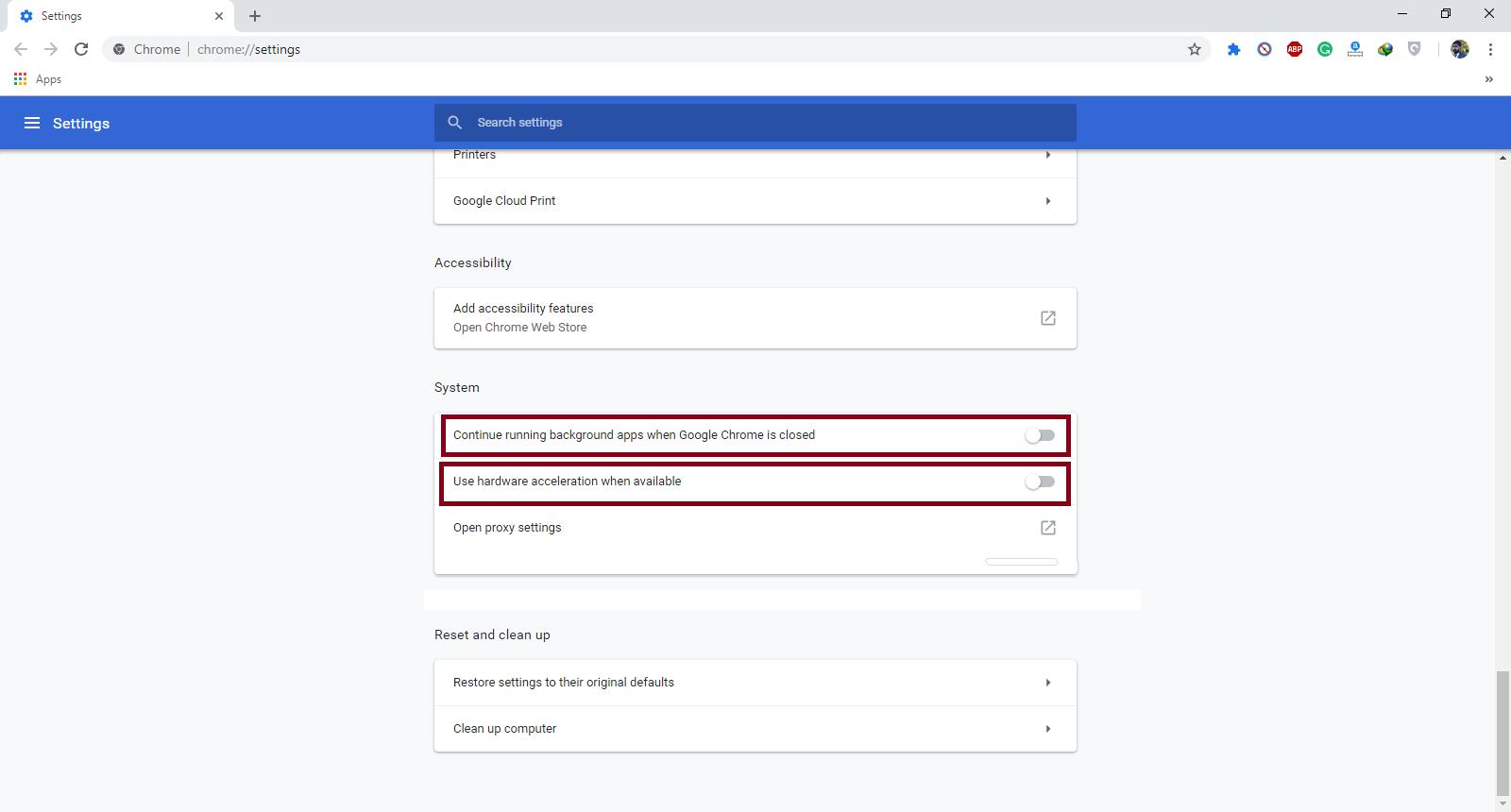 Turn Off Google Chrome Hardware Acceleration