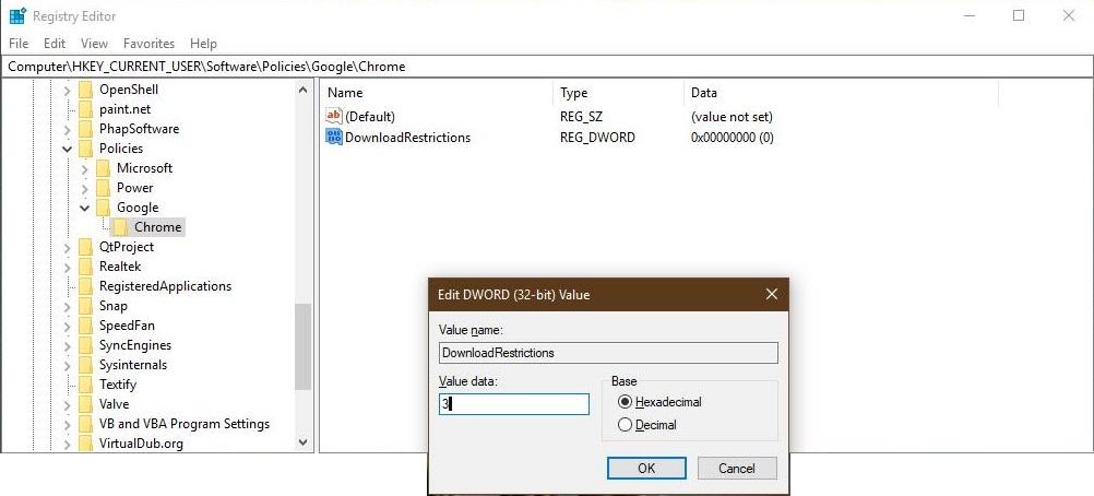 Block Downloads in Chrome