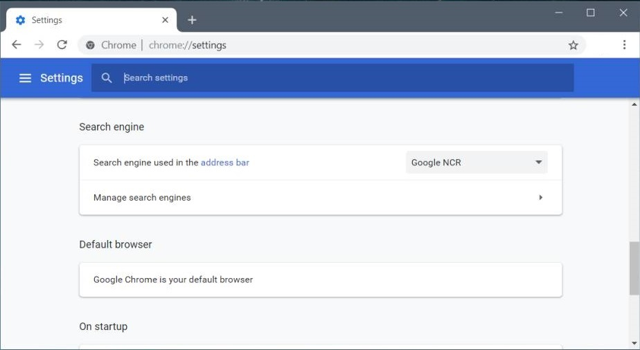 Change Default Serach Engine from Settings in Chrome