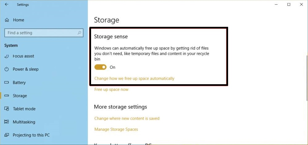Enable Storage Sense on Windows 10 to Clean Temporary Files