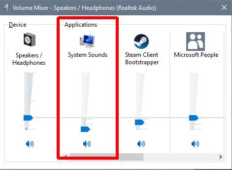 Reduce Volume of System Sounds in Windows 10