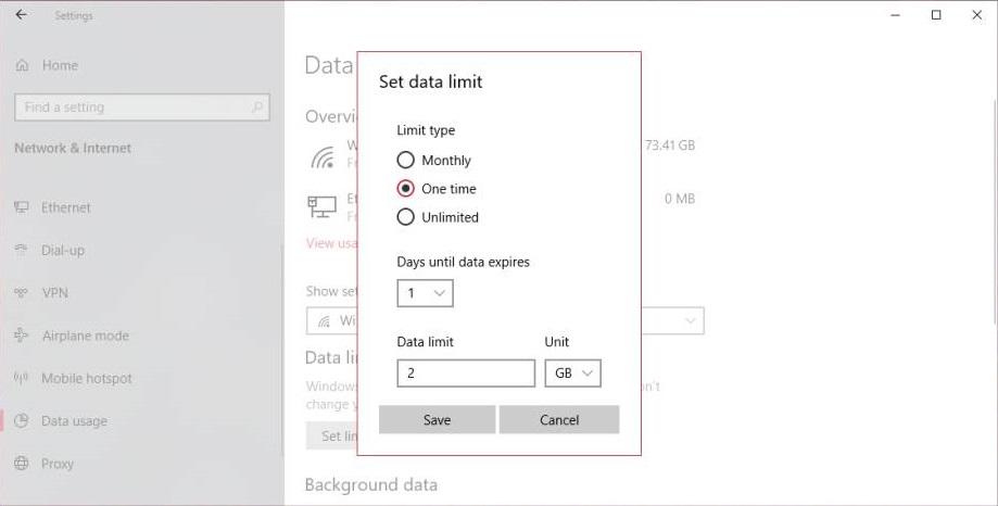 Set Data Limit Plan in Windows 10