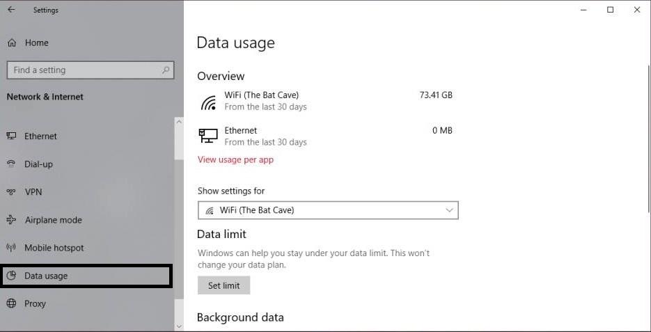 Set Data Usage Limit in Windows 10