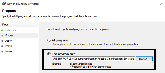 Set the location of the program to block through firewall