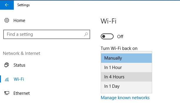 Turn on Wi-Fi after specific intervals of time in Windows 10