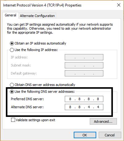 Add Custom DNS Settings from TCP IPv4 Properties