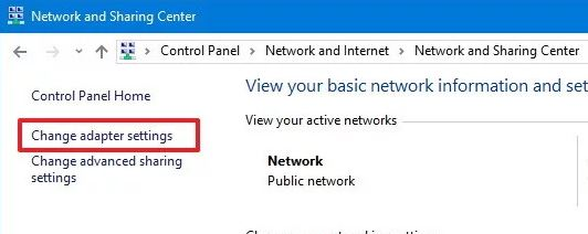 Change Adapter Settings from Network and Sharing Center
