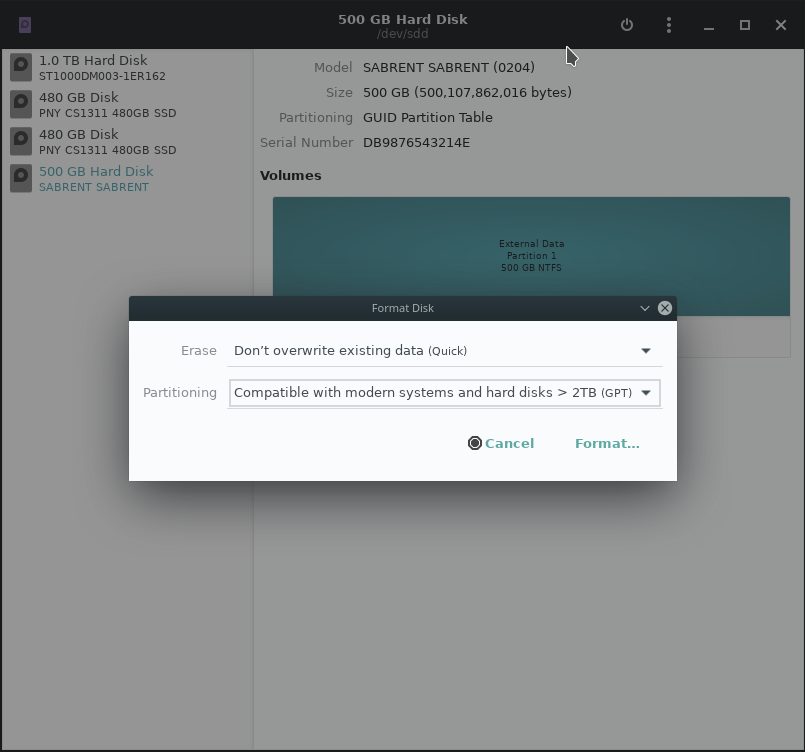 Choose the drive in Gnome Disk Utility