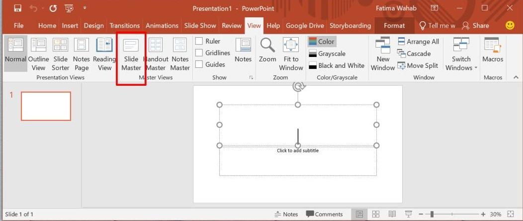 Open Slide Master to Edit Master Slide in PowerPoint