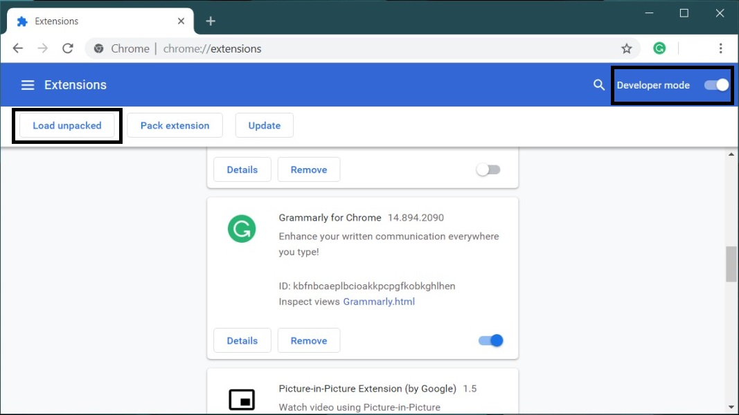 Remove Extension from the Chrome from the Extensions Page