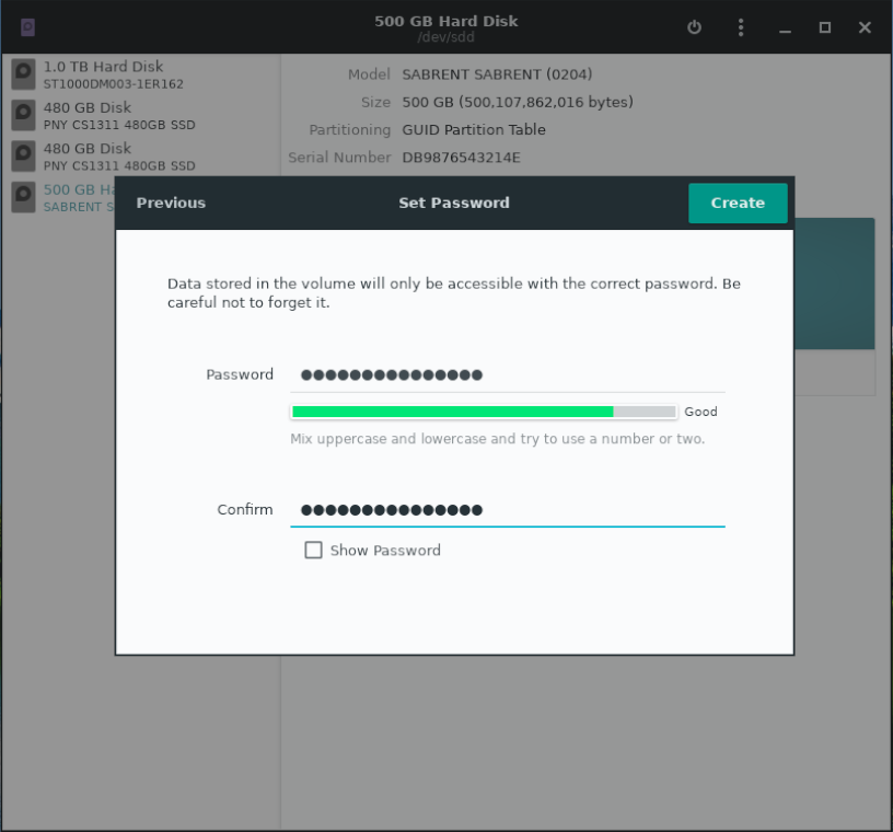 Set password for new encrypted drive in Gnome Disk Utility