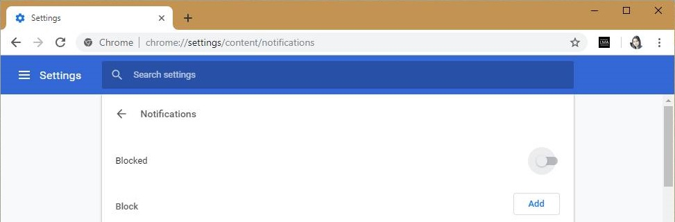 Turn off Notifications Prompt for Websites