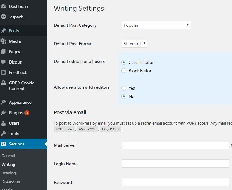 WordPress Writing Settings for Converting Back to Classic Editor