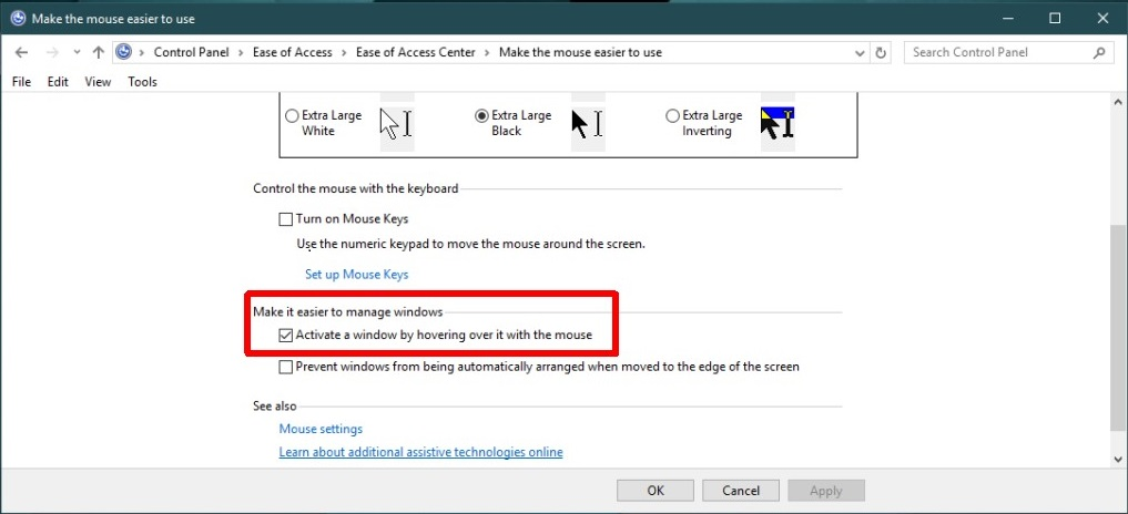 Activate Windows on hovering mouse over it