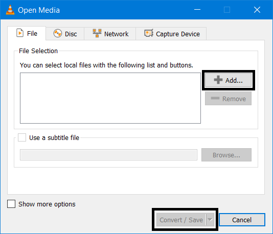 Add Media Files for Conversion in VLC