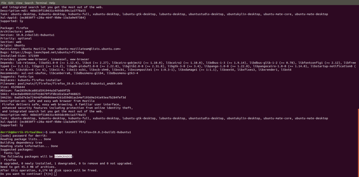 Apt cache search command for finding all the versions of the Ubuntu programs