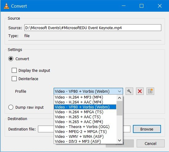 Choose the Output Format for Conversion in VLC