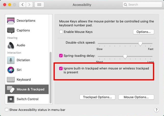 Disable Built-in Trackpad while External Mouse is Connected