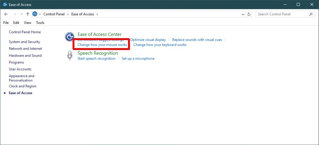 Ease of access mouse settings