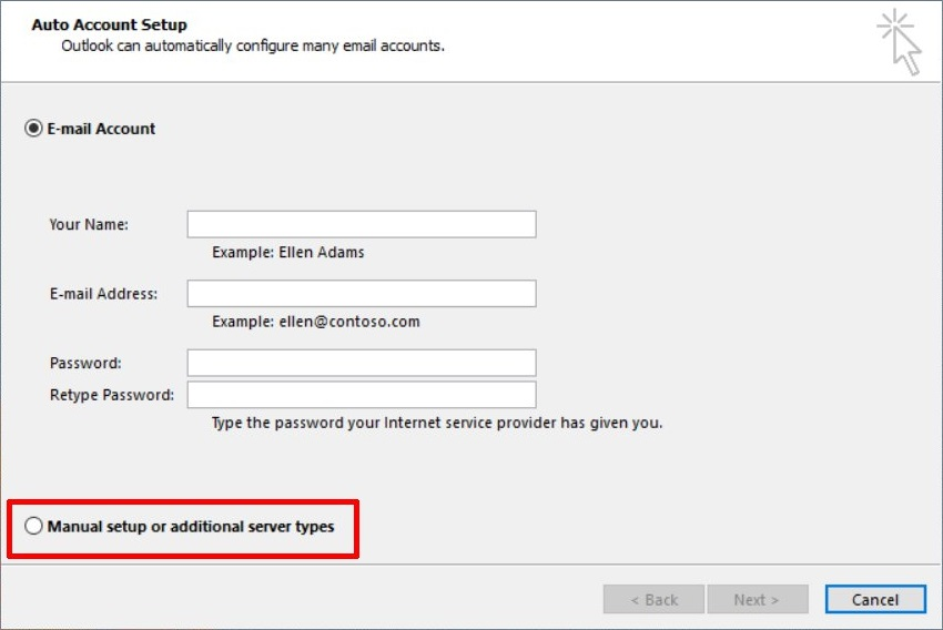 Manual Setup or additional server types in Outlook Account