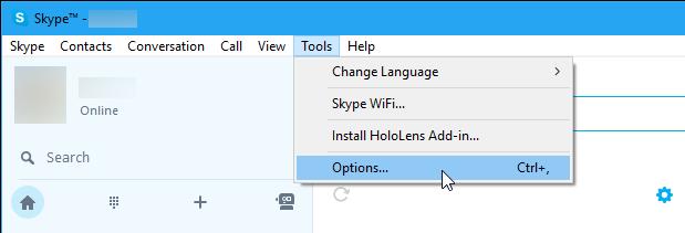 Open Skype Options
