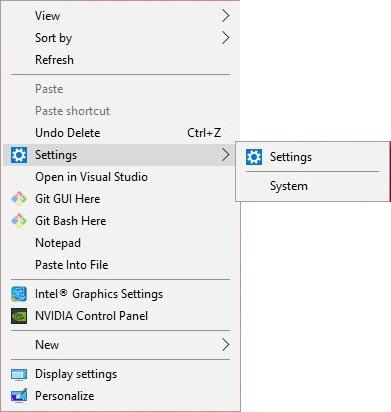 Settings Option in the Desktop Context Menu