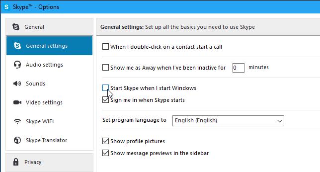 Stop Skype to Run at Startup